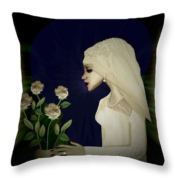 202 - Shy  Bride  2017 Throw Pillow by Irmgard Schoendorf Welch