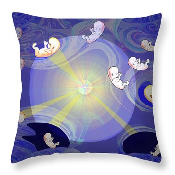 Throw Pillow featuring the digital art 2041 - The Beginning 2017 by Irmgard Schoendorf Welch