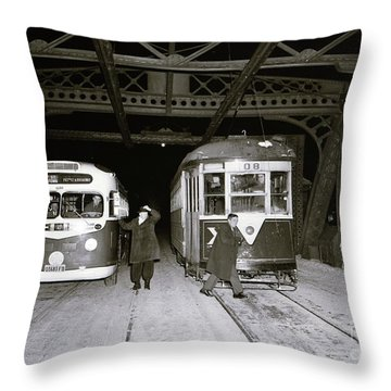 207th Street Crosstown Trolley Throw Pillow by Cole Thompson