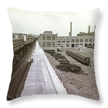 207th Street Subway Yards Throw Pillow