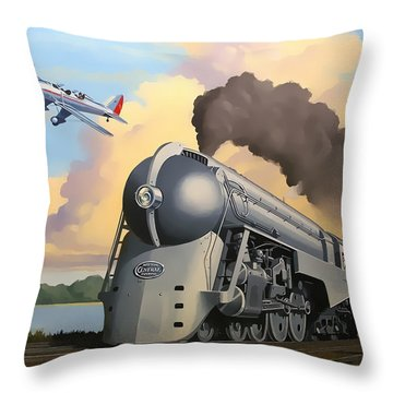 20th Century Limited And Plane Throw Pillow