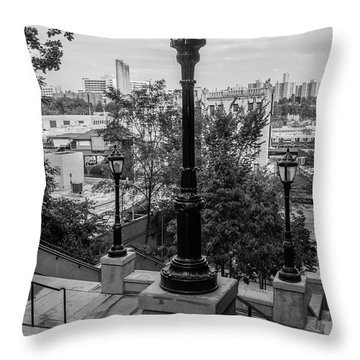 215th Street Stairs  Throw Pillow