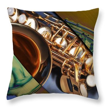 Saxophone Collection Throw Pillow