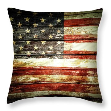 Throw Pillow featuring the photograph American Flag by Les Cunliffe