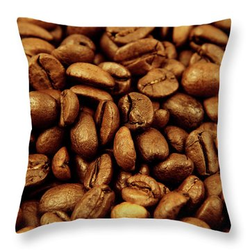 Throw Pillow featuring the photograph Coffee Beans by Les Cunliffe