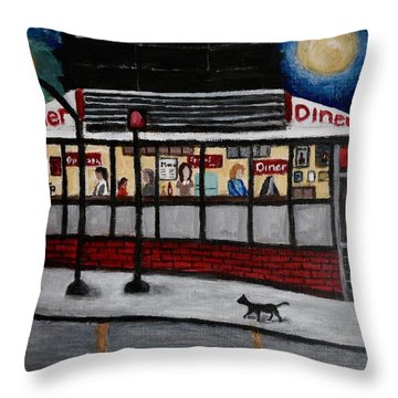 24 Hour Diner Throw Pillow by Victoria Lakes