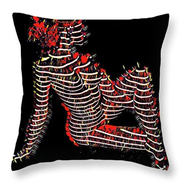 2450s-mak Lined By Light Nude Woman Rendered As Abstract Oil Painting Throw Pillow
