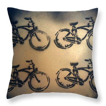 24k Gold Bicycle Signed Robert R Throw Pillow