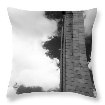 Throw Pillow featuring the photograph 25 De Abril Monument In Black And White by Lorraine Devon Wilke