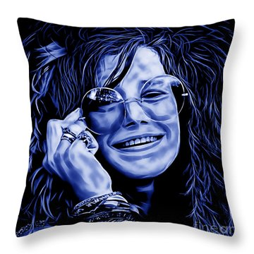 Janis Joplin Collection Throw Pillow by Marvin Blaine
