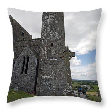 Rock Of Cashel Round Tower Throw Pillow