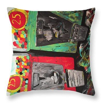 Throw Pillow featuring the painting 25cts by Olivier Calas
