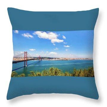 25th April Bridge Lisbon Throw Pillow by Marion McCristall