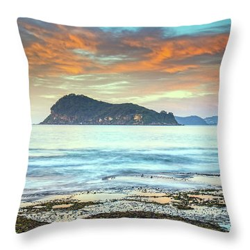 Sunrise Seascape With Clouds Throw Pillow