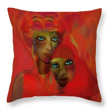 260 - Women In Red  Cothing A... Throw Pillow