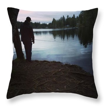 Fishing At Dusk Throw Pillow by Brianna Fulghum-Behen