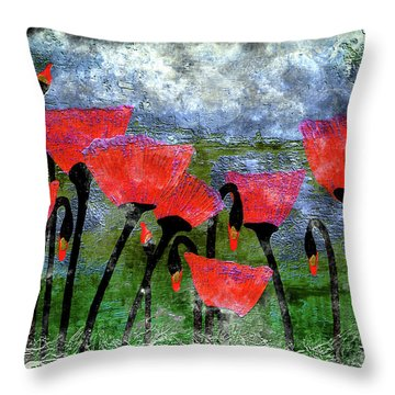 26a Abstract Floral Red Poppy Painting Throw Pillow