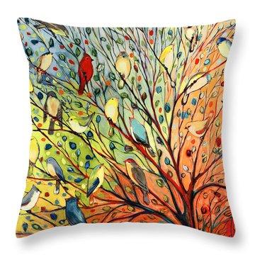 27 Birds Throw Pillow