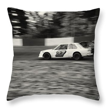 27 On The Speedway Throw Pillow