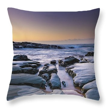 Sunrise Seascape And Rock Platform Throw Pillow