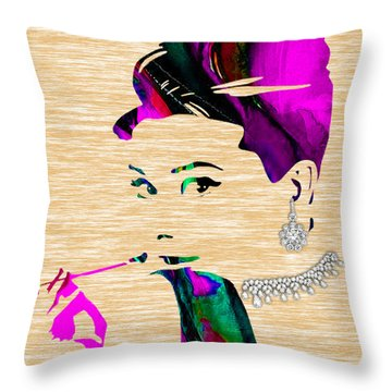 Audrey Hepburn Collection Throw Pillow by Marvin Blaine