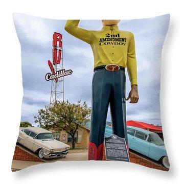 2nd Amendment Cowboy Throw Pillow
