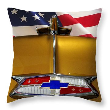 1954 Chevrolet Hood Emblem Throw Pillow by Peter Piatt