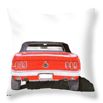 Throw Pillow featuring the painting 1969 Mustang Convertible by Jack Pumphrey