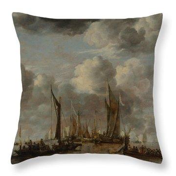 A Shipping Scene With A Dutch Yacht Firing A Salute Throw Pillow
