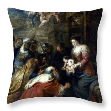 Adoration Of The Magi Throw Pillow by Granger