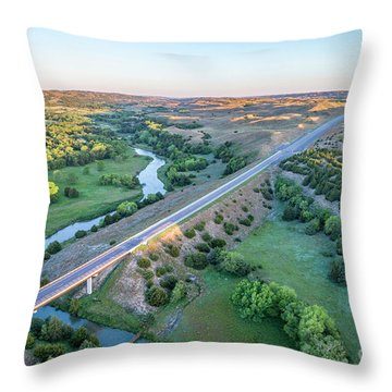 aerial view of Dismal River in Nebraska Throw Pillow