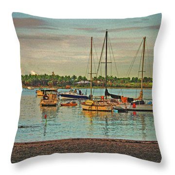 Throw Pillow featuring the digital art 3- Anchored Out by Joseph Keane