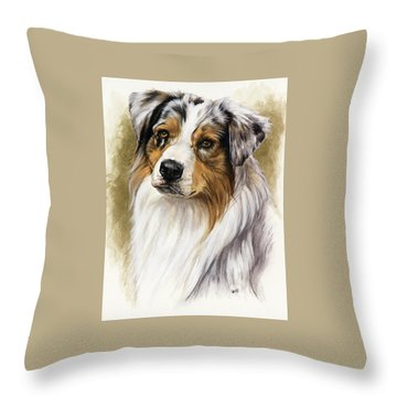 Australian Shepherd Throw Pillow by Barbara Keith