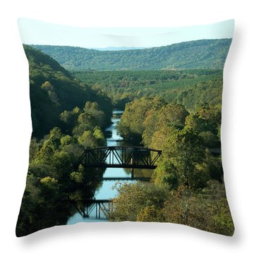 Autumn Landscape With Tye River In Nelson County, Virginia Throw Pillow