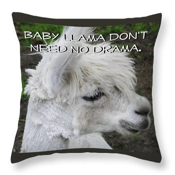 Baby Llama Throw Pillow by Ellen Henneke