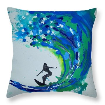 Badwave Throw Pillow