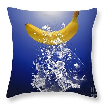 Banana Splash Throw Pillow