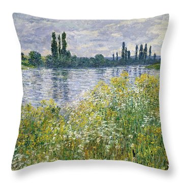 Banks Of The Seine, Vetheuil Throw Pillow