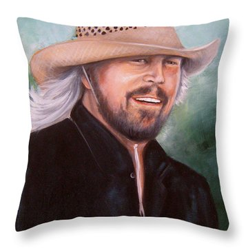 Barry Gibb Throw Pillow by Patrice Torrillo