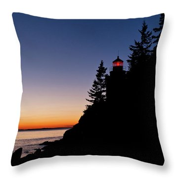 Bass Harbor Lighthouse Throw Pillow by John Greim
