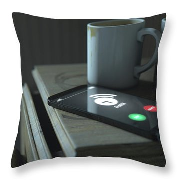 Bedside Table And Cellphone Throw Pillow