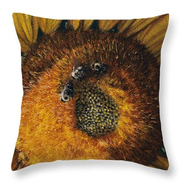 3 Bees Throw Pillow by Peter Muzyka