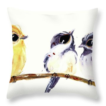Throw Pillow featuring the painting 3 Birds On A Branch by Dawn Derman