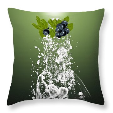 Blueberry Splash Throw Pillow