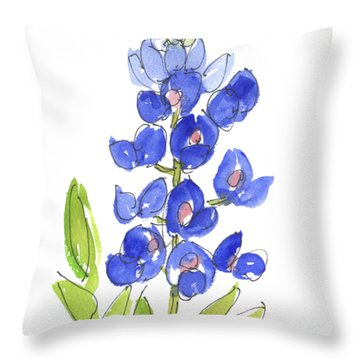 Bluebonnet Throw Pillow by Kathleen McElwaine