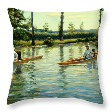 Boating On The Yerres Throw Pillow