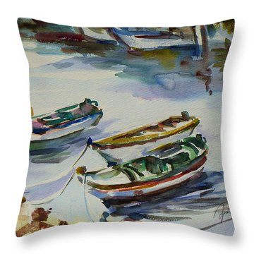 Throw Pillow featuring the painting 3 Boats I by Xueling Zou