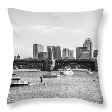 Boston Skyline Black And White Photo Throw Pillow
