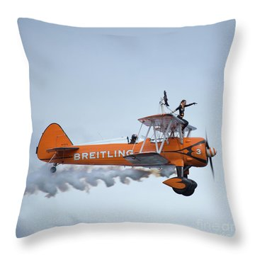 Breitling Wing Walker Throw Pillow