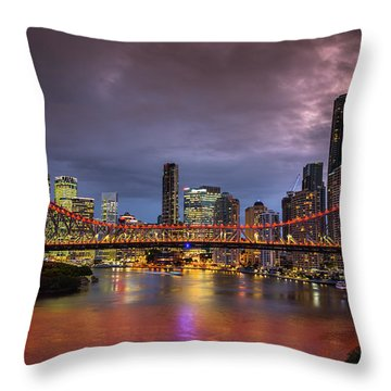 Brisbane City Skyline After Dark Throw Pillow